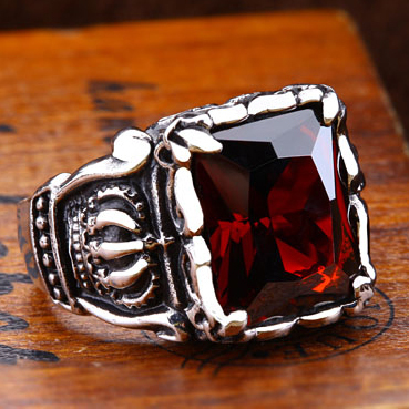 JHNBY High quality men's Punk Rings 316L Titanium steel crown AAAAA Zircon Red Gem Finger Ring Stone Fashion men Jewelry xiagao cool punk real 316l stainless steel red ring men s big red crystal red stones finger rings for man gothic casting ring