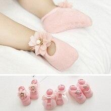 [Chaonono] 3Pcs/lot Baby Socks Infant Cotton Lace Flowers Socks Baby Girl Anti-Slip Newborns Short Socks for 0-2 Years