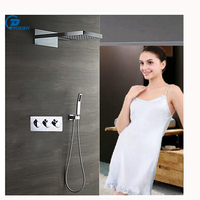 Chrome Mixer Valve Wall Mount Rainfall Bath Shower Mixer Taps 16 Inch Sturdy And Durable Shower