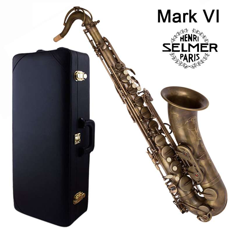 Retro Saxophone Tenor Selme Mark VI Bb Flat Antique copper Sax Saxofone Professional musical instrument Accessories mouthpiece tenor sax saxophone bb antique brass surface wind instrument sax western instruments saxofone musical instruments saxophone