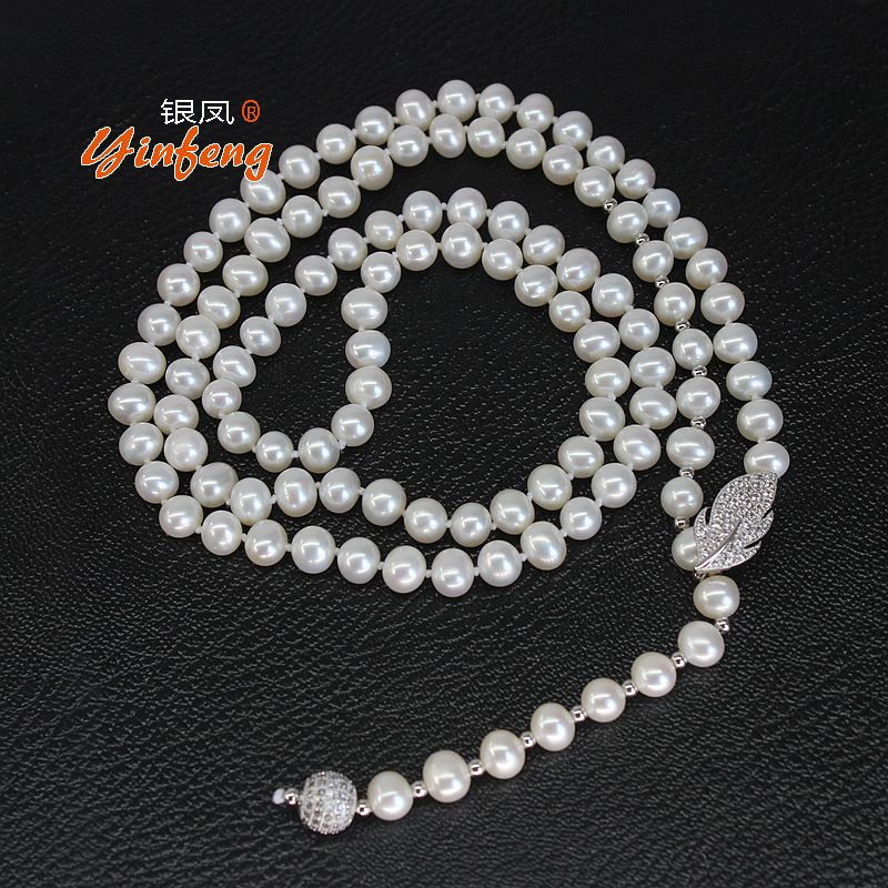 [MeiBaPJ]European Style Delicate 1pcs 90cm 100% Natural Real Freshwater Pearl Long Necklace For Women Wedding Jewelry