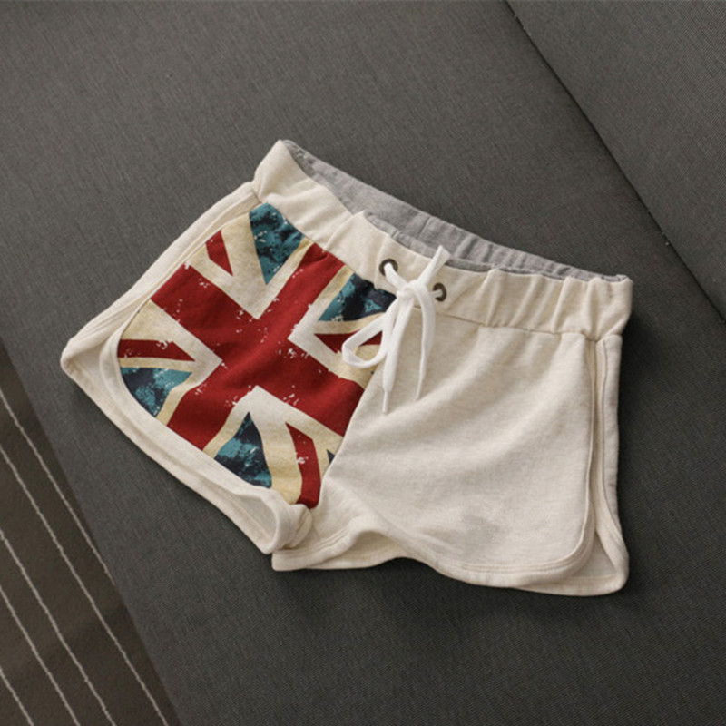 High Quality Women's Summer White UK Flag Shorts Women Casual Cotton Short High Waisted United Kingdom Flag Female Skinny Shorts