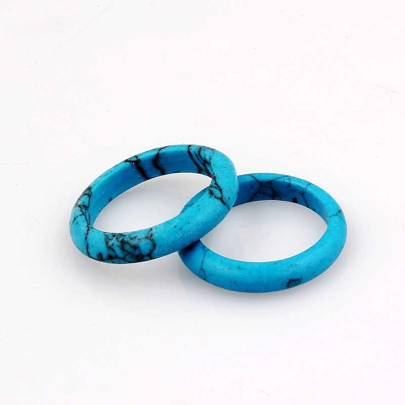 QianBei ขายส่ง 10 ชิ้น/เซ็ตรูปไข่สีฟ้าแหวนหิน Turquoises แหวนงานแต่งงานแหวนหมั้นแหวนเครื่องประดับของขวัญผู้หญิงผู้ชาย
