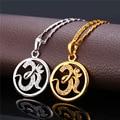 Hot Religión Hindú AUM OM Amuleto Para WomenMen Plateó Cubic Zirconia Colgante Collar de Joyería de Hinduismo P974