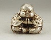 ของขวัญคริสต์มาสจีนเก่าสีขาวทองแดงฝีมือแกะสลักพระภิกษุสงฆ์รูปปั้นพระพุทธรู