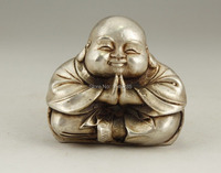 Regalo di natale CINESE OLD WHITE COPPER HANDWORK SCULTURA MONK BUDDHA STATUA