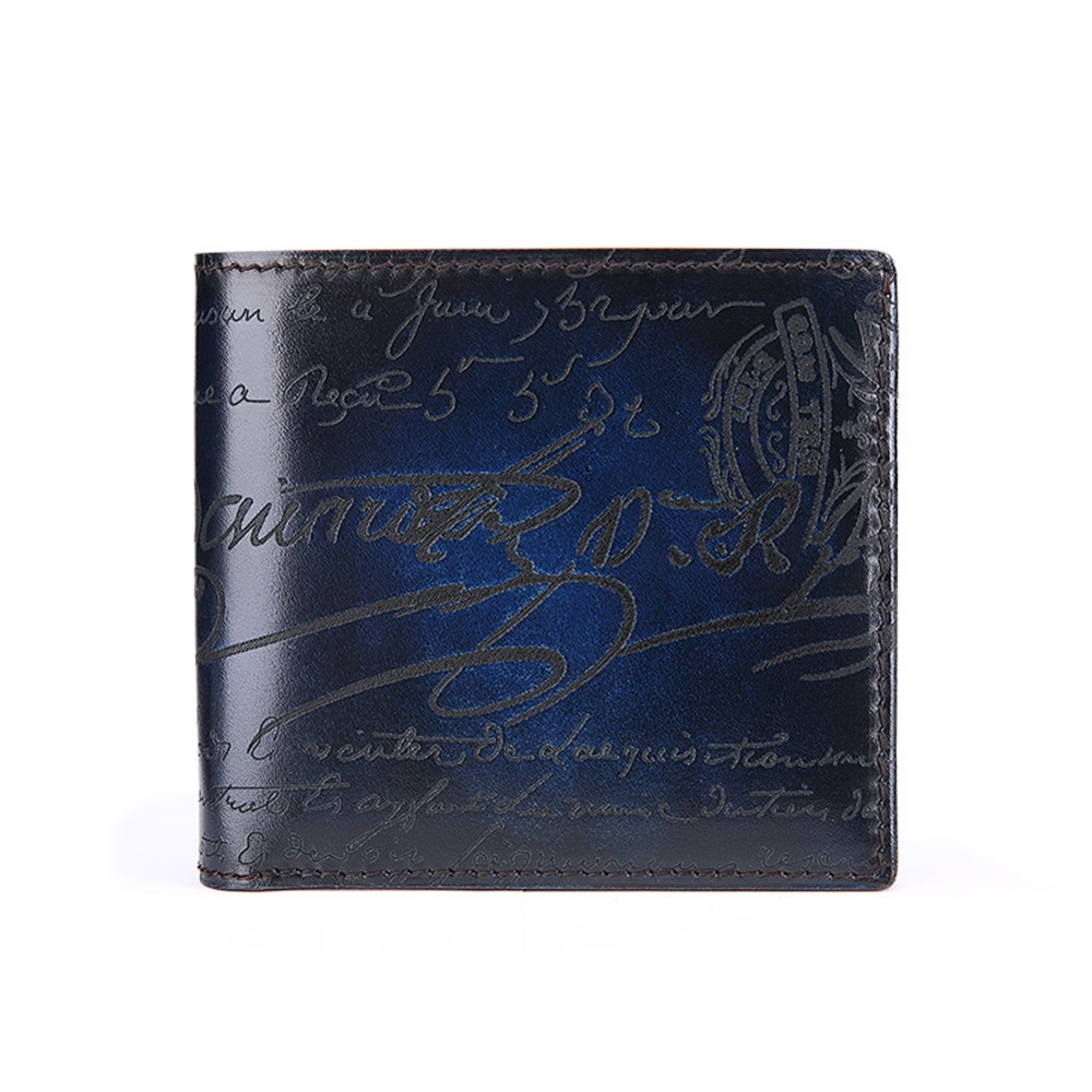 ФОТО TERSE_10 MOQ for sale leather short wallet men luxury handmade genuine leather engraving wallet 5 colors in stock factory price