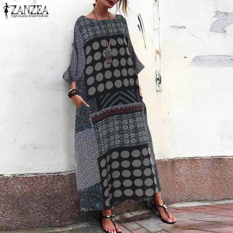 ZANZEA 2019 летнее женское винтажное стильное длинное платье с принтом макси Vestidos сарафан, женский халат богемное хлопковое льняное платье оверсайз