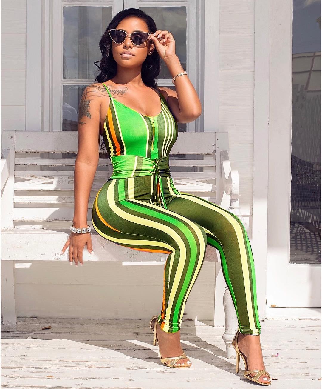 17b57a0b3c08 Q063 Europe and sexy club hot style fashion women's clothing in 2018 amazon  digital printing stripe jumpsuits-in Jumpsuits from Women's Clothing ...