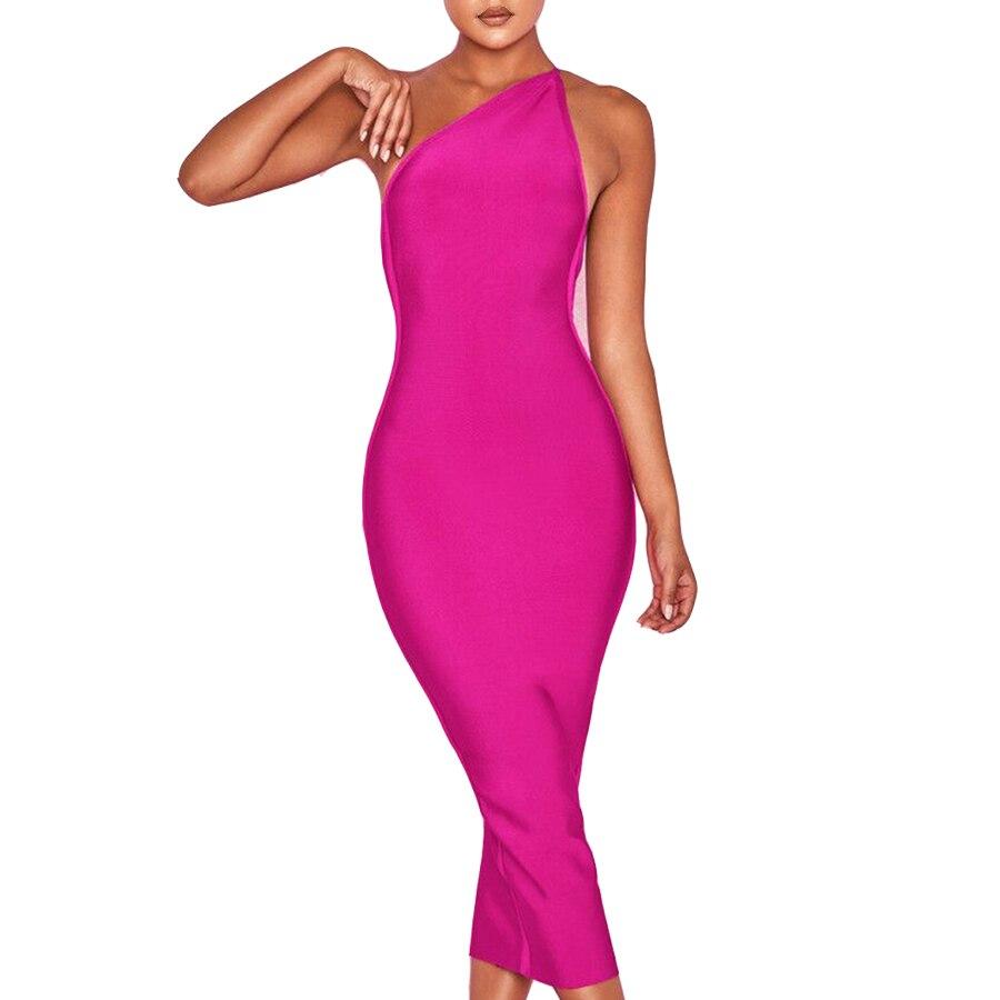 Nu Femmes artisanat Partie Club Rouge Sexy Dos Chaud Longue Moulante Une Épaule Rose Mi 2018 Bandage Robe xBoeQrdCWE