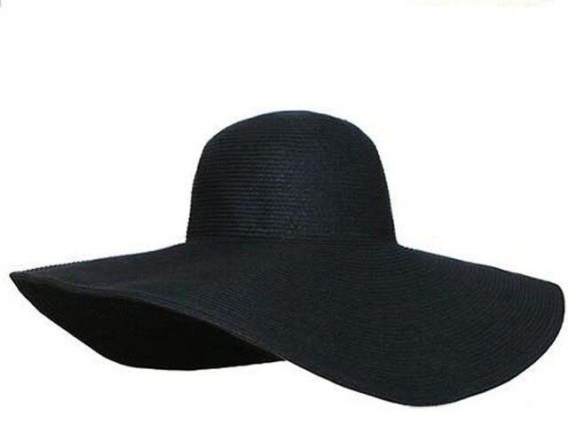 LNPBD hot 2017 Women s white hat summer black oversized sunbonnet beach cap  women s strawhat sun hat a75e59d1b932