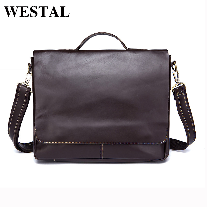 WESTAL Crazy Horse Leather Men Laptop Bags Genuine Leather Man Crossbody Shoulder Handbag Men's Briefcase Male Bag 9878 ms crazy horse genuine leather men bag men s leather bag men messenger bags shoulder crossbody bags man handbag briefcase tw2011