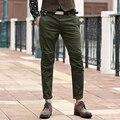 Homens Calças dos homens Slim Fit Calças Skinny Casuais Calças Estreitas Moda Vestido Reto Suave Calças Verdes Exército 2016 Novo chegada