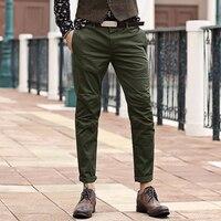 men Pants Men s Slim Fit Casual Narrow Pants Fashion Straight Dress Pants Skinny Smooth Army