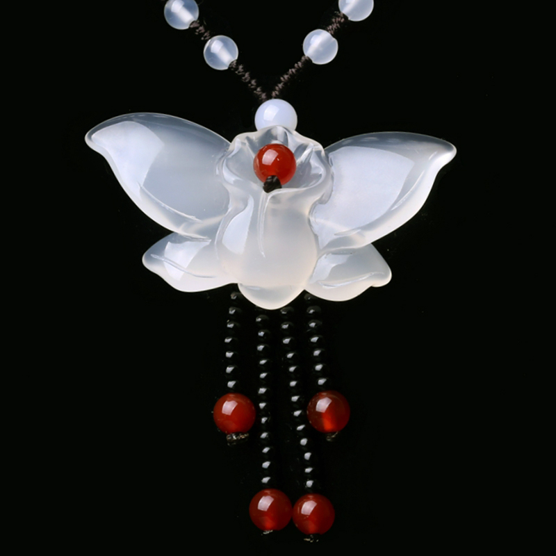 yu xin yuan Fine Jewelry Natural Jade Medullary Necklace Pendant Carved Butterfly Lucky Best Wishes Women Men Jewelry ...