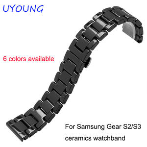 For Samsung Gear S2/S3 smart wristband qiality pearl ceramics watchband 20mm 22mm black white bracelet