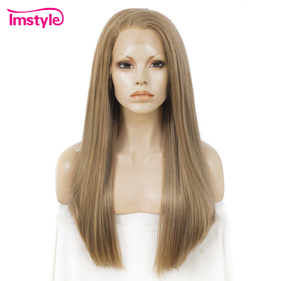 Imstyle Brown Wig Lace Front Wigs For Women Synthetic Lace Front Wig Straight Hair 24 inches Cosplay Wig Heat Resistant Fiber-in Synthetic Lace Wigs from Hair Extensions & Wigs    1