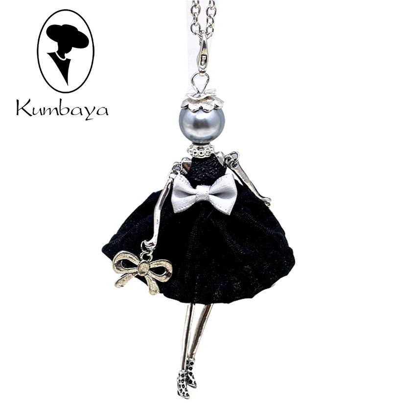Hot Sale!! Cute Yarn Cloth Bowknot Dress Doll Necklace ...