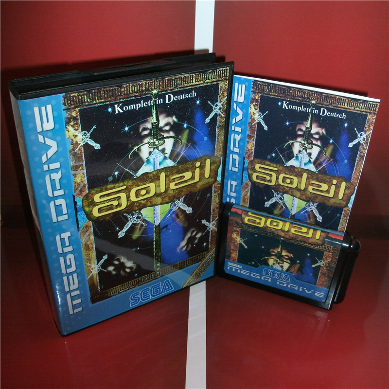Soleil EU Cover with box and manual for Sega MegaDrive Genesis Video Game Console 16 bit MD card