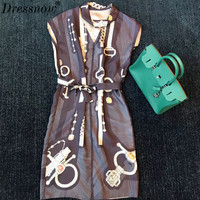 High Quality elegant dress for women summer sleeveless dress fashion print dress with sash