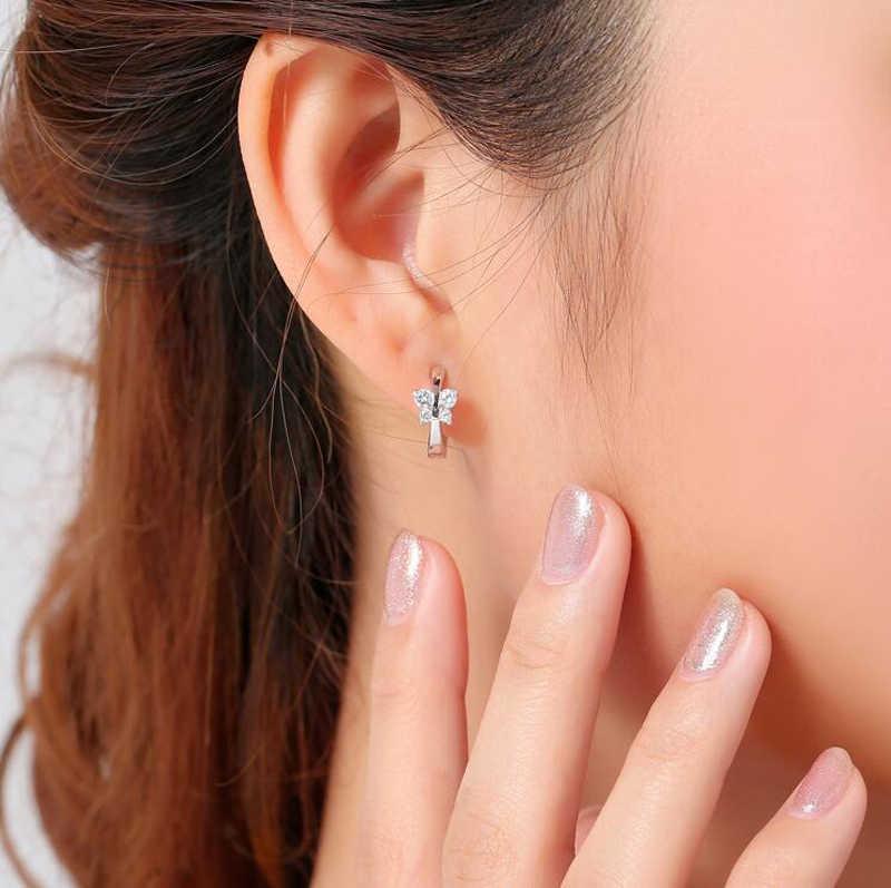เจ้าหญิง 925 Silver Zircon ผีเสื้อ Hoop ต่างหูสำหรับเด็กเด็กผู้หญิง Loop Huggies ต่างหูเครื่องประดับ E046