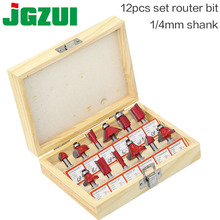 """DIY 12pcs 1/4"""" Router Bits Set Professional Shank Tungsten Carbide Router Bit Cutter Set With Wooden Case For Woodworking Tools"""