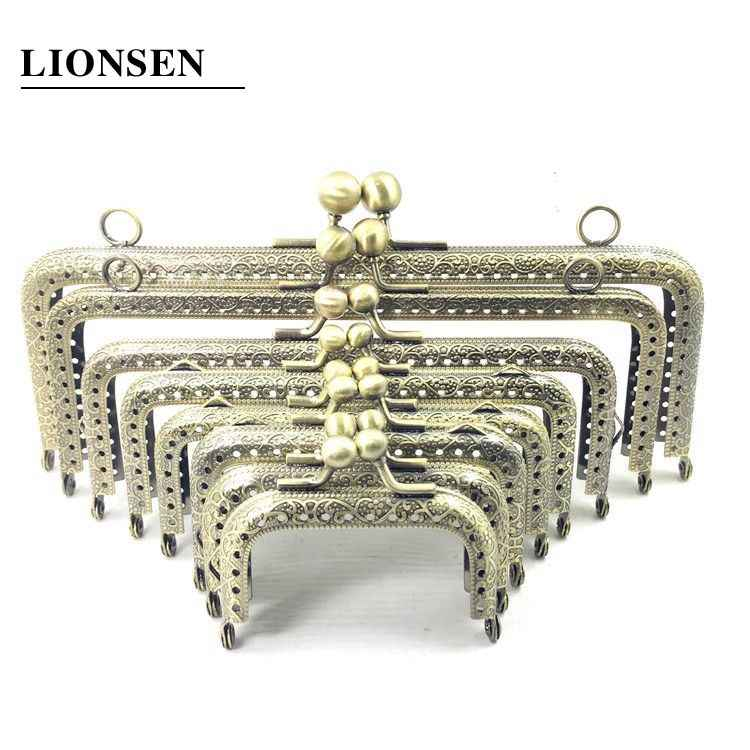 LIONSEN 6.5/7.5/8.5/10.5/12.5/15/18/20cm DIY Metal square Frame Purse Handle Coin Bags Metal Kiss Clasp Lock Frame Accessories