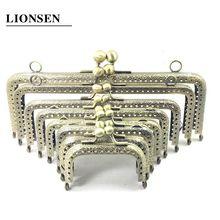 LIONSEN 6 5 7 5 8 5 10 5 12 5 15 18 20cm DIY Metal square Frame Purse Handle Coin Bags Metal Kiss Clasp Lock Frame Accessories cheap