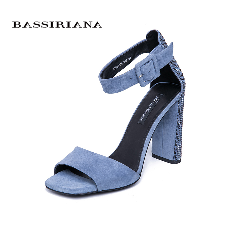 BASSIRIANA 2019 new ladies genuine leather suede shoes women summer sandals square high heels ankle strap