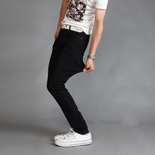 The new 2017 men fashion boutique elastic slim thin foot leisure jeans Male comfortable casual jeans
