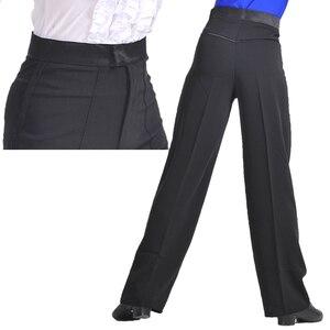 Image 2 - מקצועי גברים שחור לטיני ריקוד מכנסיים בני למבוגרים סאטן סלוניים ריקוד מכנסיים סלסה טנגו רומבה סמבה Cha Cha לטיני מכנסיים