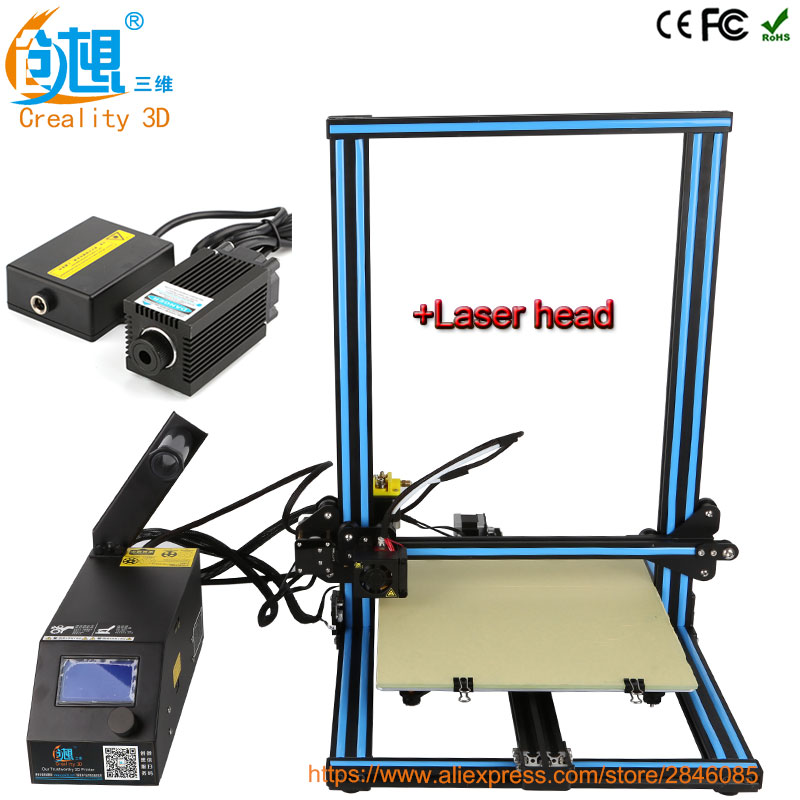 Creality 3d Laser Head Module Desktop 3D Printer CR-10 High precision 3D Printer Machine DIY Kit with Filament heated bed Gift linear guide with heated bed silver rostock kossel k800 xl 3d printer with hotbed machine 3d printer kit