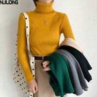 2018 Pullovers Knitted Sweaters Women's Casual Slim Solid Turtleneck Sweet Pullovers Female Soft Jumper Tops Long Sleeve Outwear