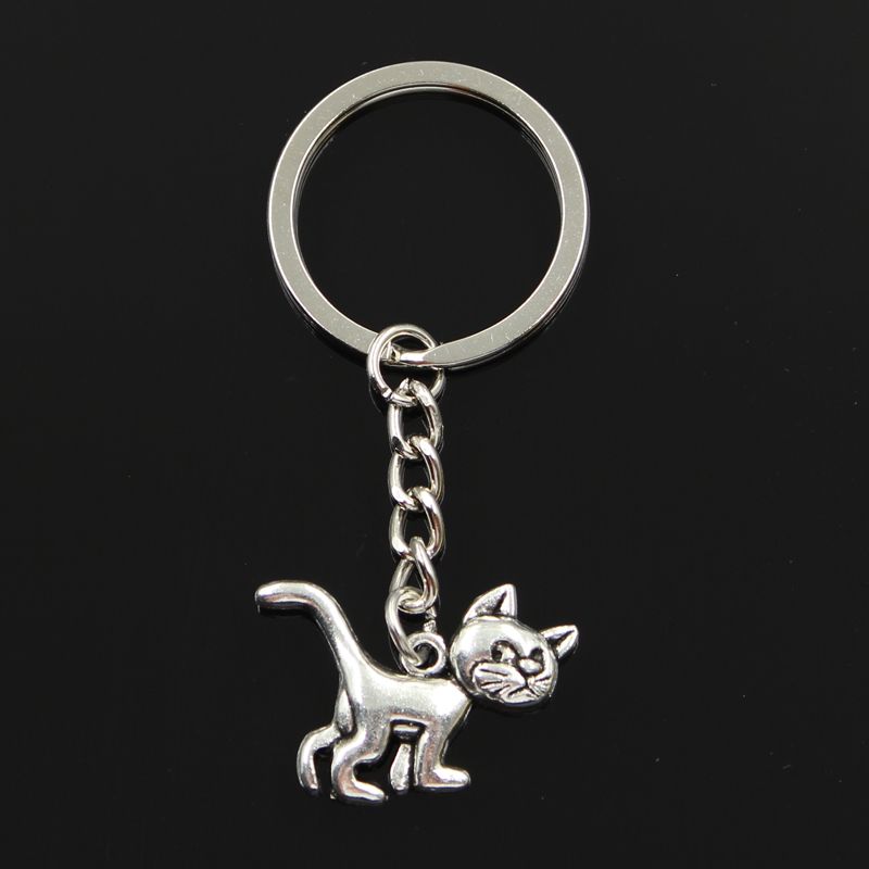 Fashion diameter 30mm Key Ring Metal Chain Keychain Jewelry Antique Silver Plated cat 30*22mm Pendant