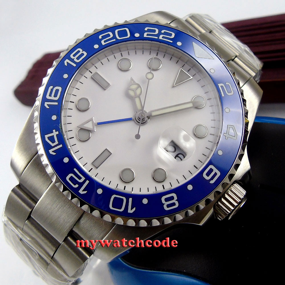 43MM bliger white sterile dial blue ceramic bezel GMT scrown down crown sapphire glass automatic mens watch 357