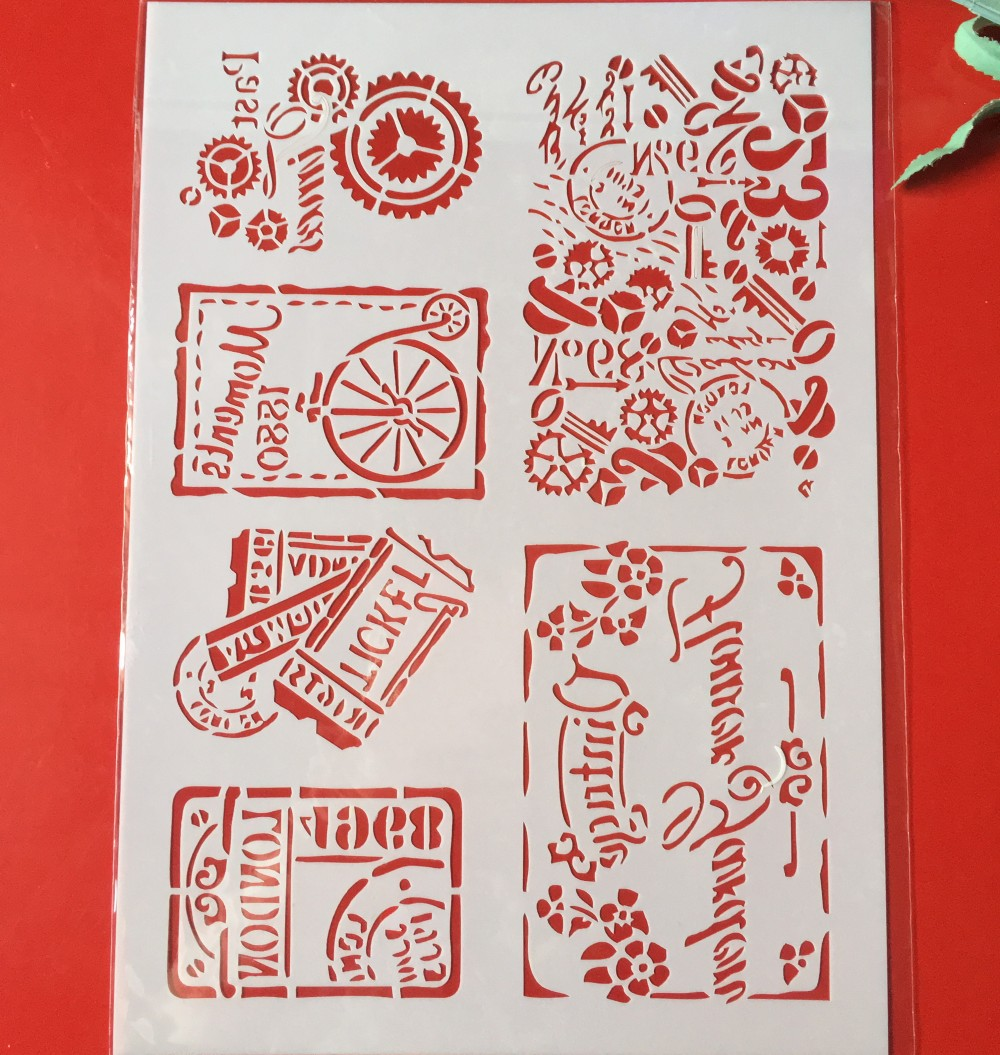 Hot A4 Vintage Tickets DIY Layering Stencils Wall Painting Scrapbook Coloring Embossing Album Decorative Paper Card Template