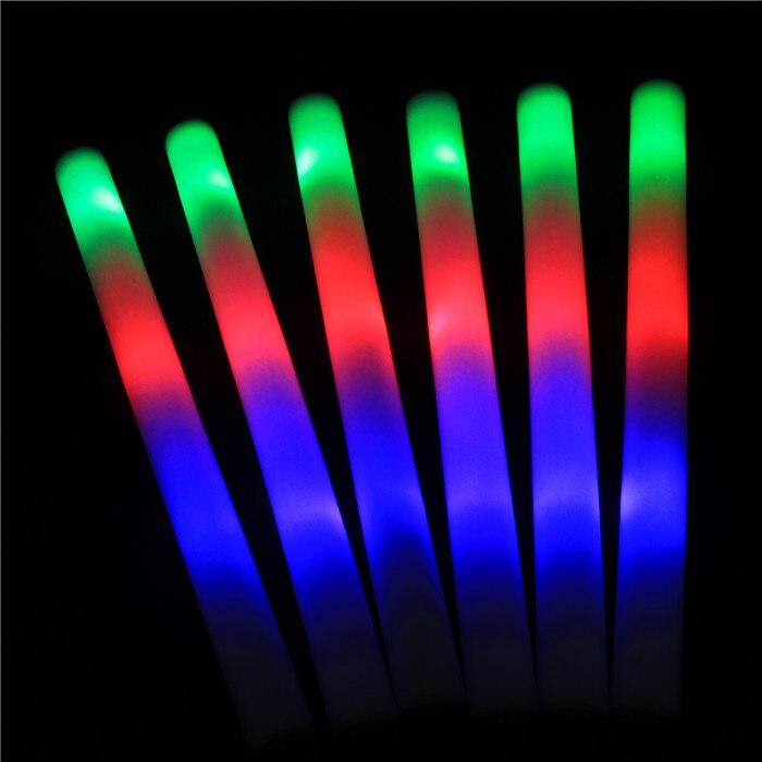 25 Pcs Lot Led Foam Stick Colorful Flashing Batons 48cm