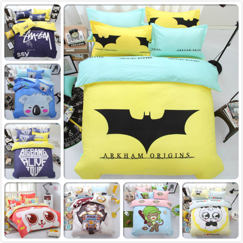 Arkham Origins Cute Animal Panda Bear Boy Girl Kids 4pcs Bedding Set 1.5m 1.8m 2.0m Bed Sheet King Queen Double Size Duvet Cover