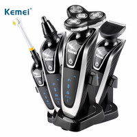 Kemei 4D Electric Shaver Men Machine Nose and Hair Trimmer Rechargeable Toothbrush Barbeador 4 In 1 Washable Floating Blade