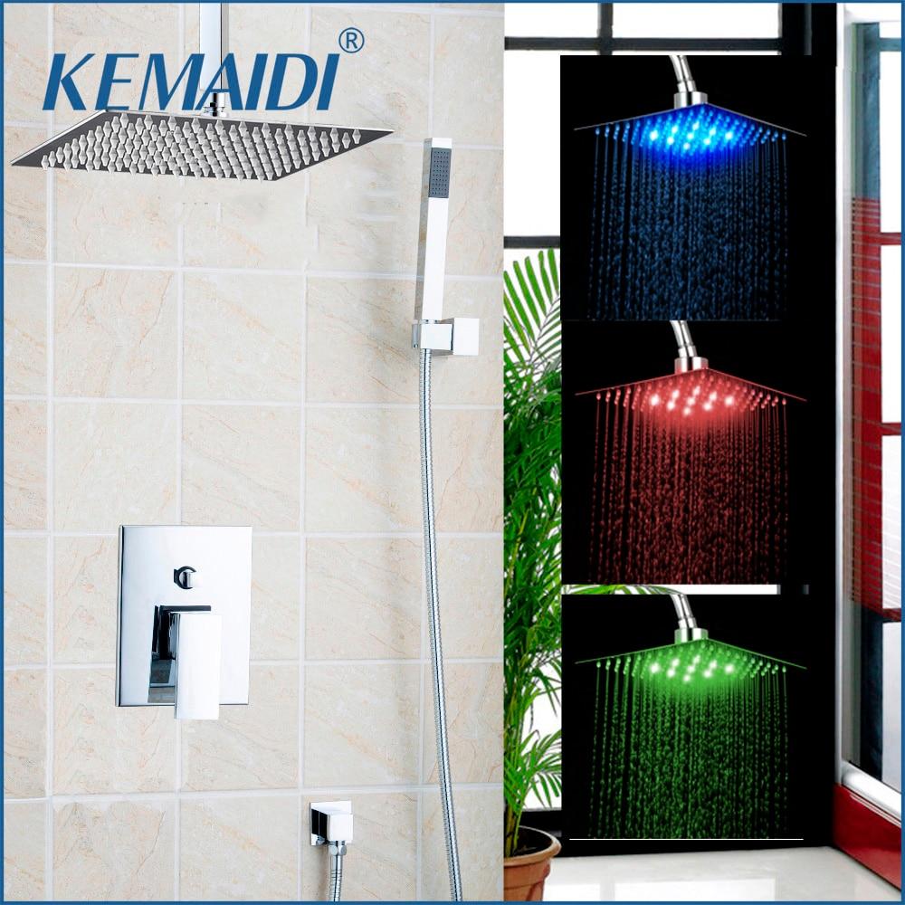 KEMAIDI 3 Size 8 12 16 Rainfall Shower Head System Bath & Shower Faucet With Hand Spray Bathroom Rain Mixer Shower Combo Set