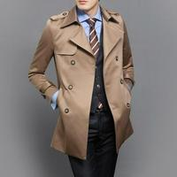 Black blue khaki plus size S 9XL spring autumn mens trench coat men business casual fashion double breasted youth jacket men
