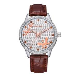 Ms. 2019New Роскошные роскошные часы с кристаллами и бриллиантами, многофункциональные кварцевые часы с кожаным ремешком, подарок для женщин