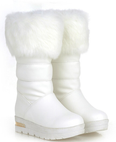 2016 New Arrival Winter Women Flats Chunky Heel Round Toe Warm Snow Boots Knee High Fur Boots Plus Size 34-43 SXQ0727