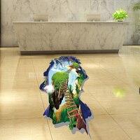 60 90cm 23 62 35 43 Inch 3D Pontoon Bridge Wall Stickers For Kids Rooms Bathrooms