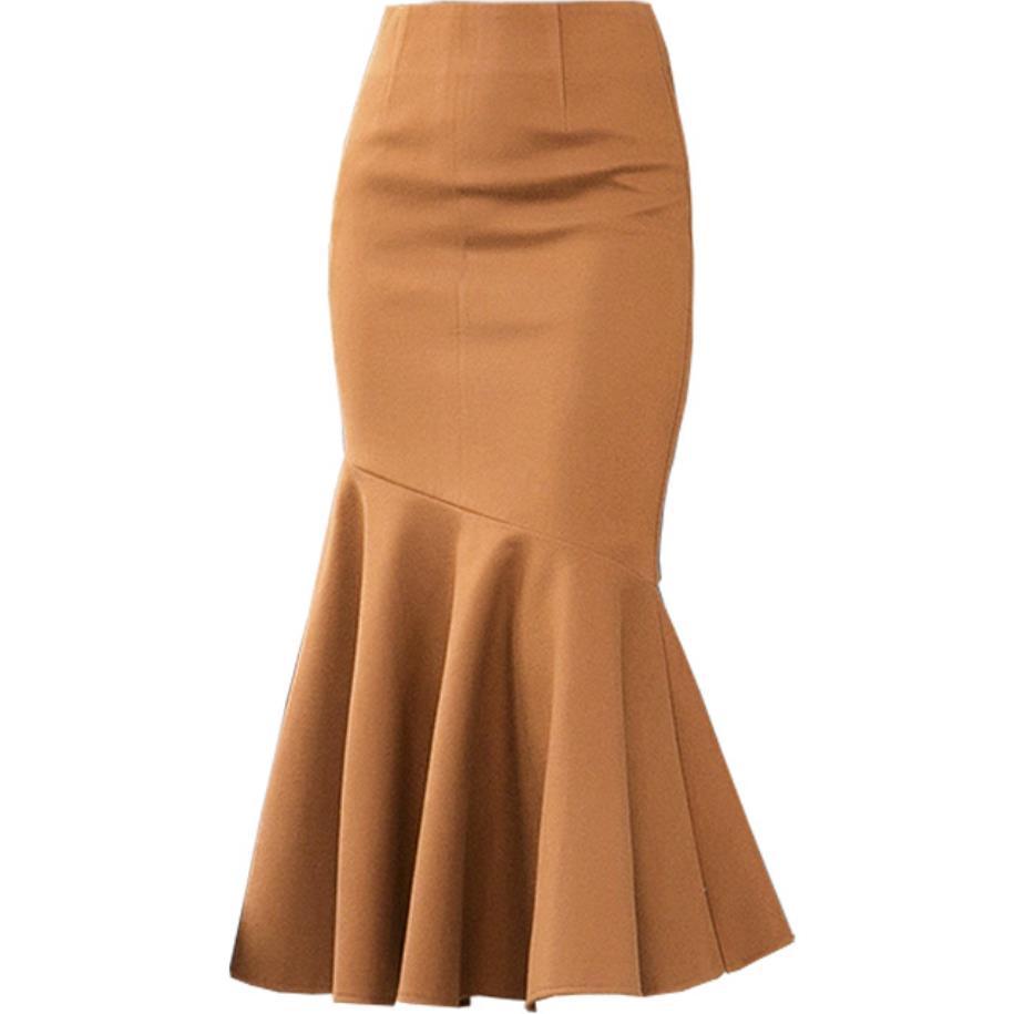 Women Skirt 2019 Women Ruffles Woolen Skirt Clothing Fashion Elegang Office Work PACKAGE HIP Mermaid Trumpet Skirt