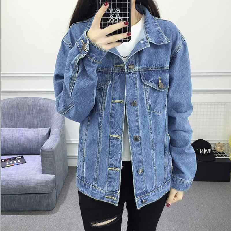 Spring Autumn Winter Women basic jeans jacket female bomber coat Bleach Full Sleeves Single Breast Slim Women Denim Jacke