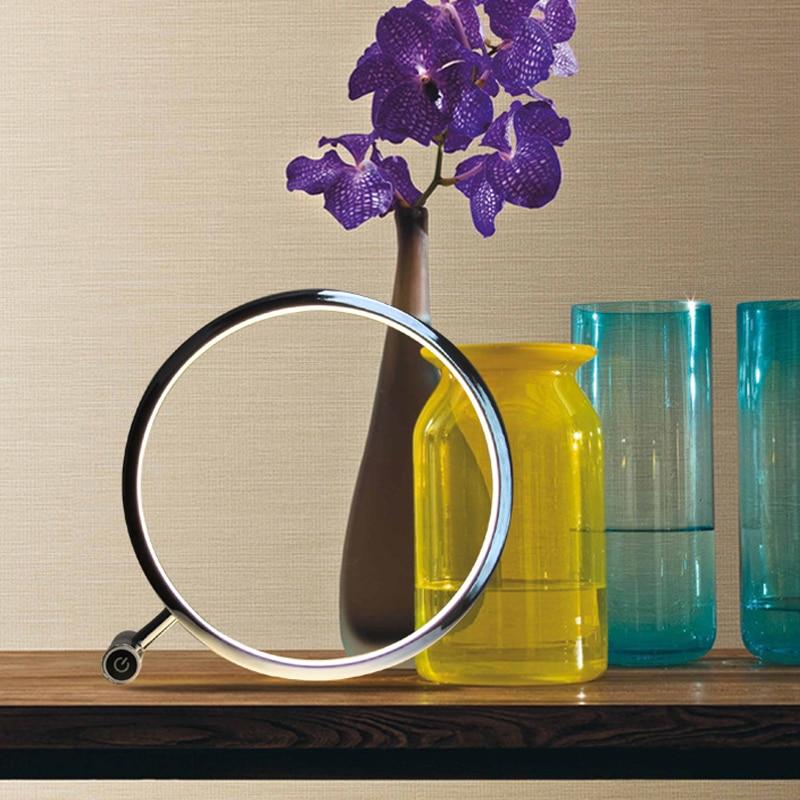 Modern circular LED Desk Table Lamp touch dimmer Aluminum ...