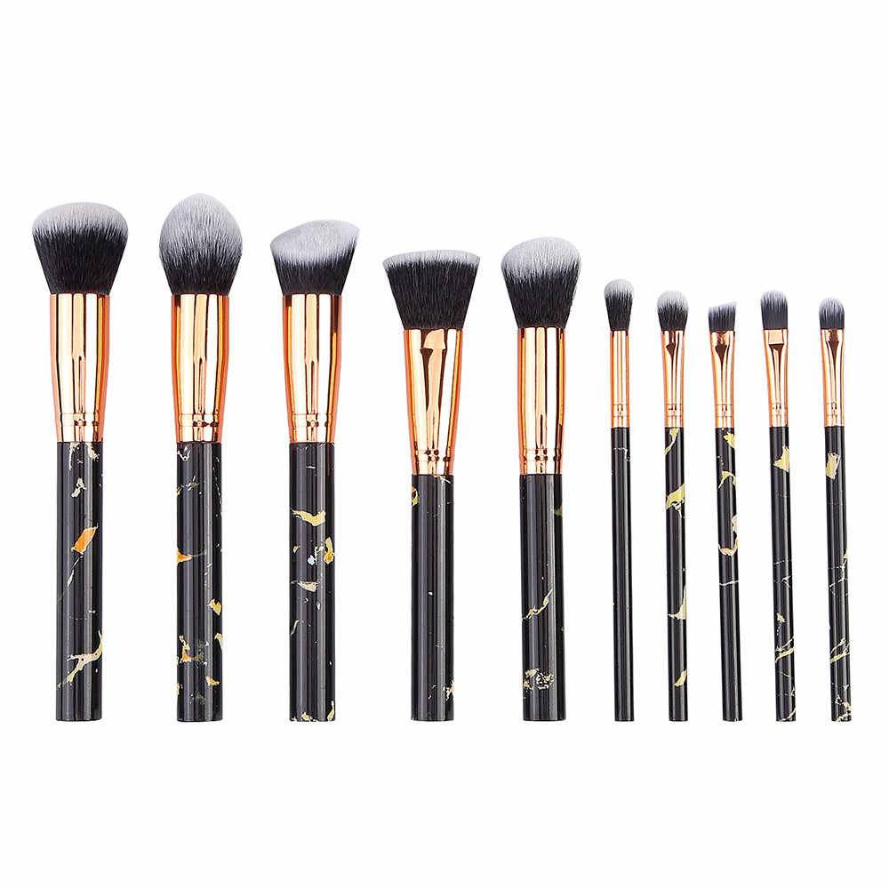 c919af8ccfb7 10PCS Makeup Brush Set Marble Eyeshadow Eyeliner Plastic Foundation Blush  Blending Makeup Contour jessup brochas maquillag