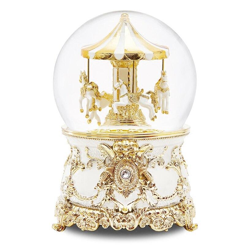 Carillon musicale scatola sfera di Cristallo Carosello Mandare le bambine e bambini regali di compleanno Neve creativo Spedizione gratuita