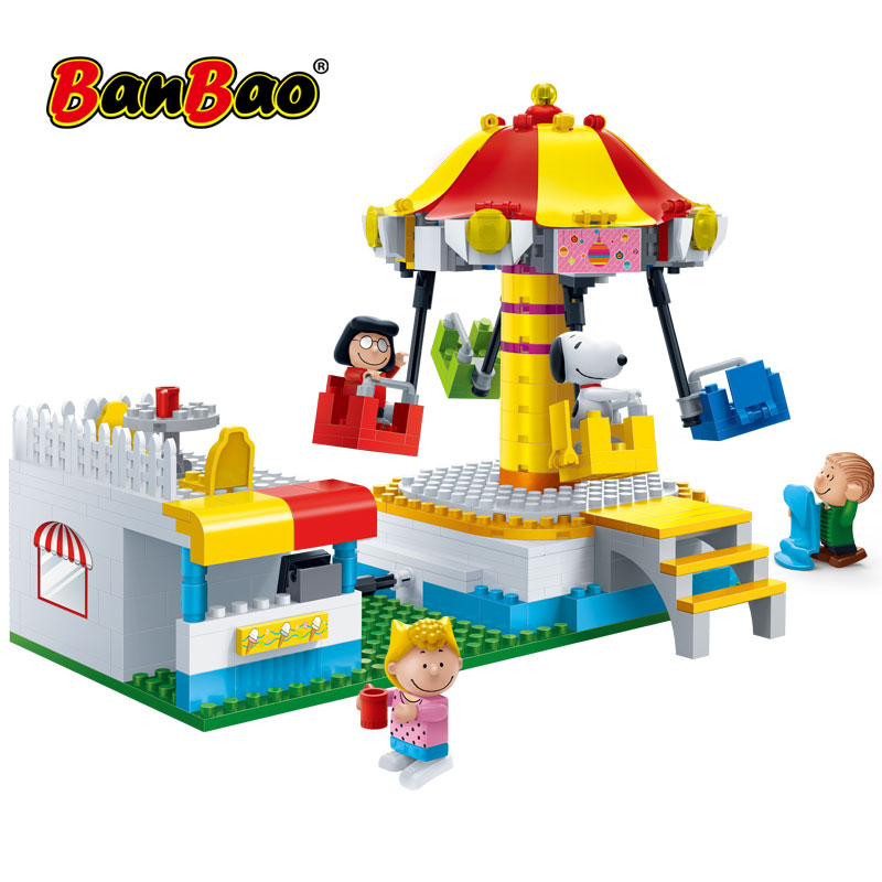 BanBao 7505 Hot IP Snoopy Peanuts DIY Plastic Building Blocks Theme Park Rotary Swing Toys For Children Kids Educational Models(China)